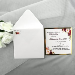 BIRINV46 Gold and Burgundy Floral 80th Birthday Invitation with envelope
