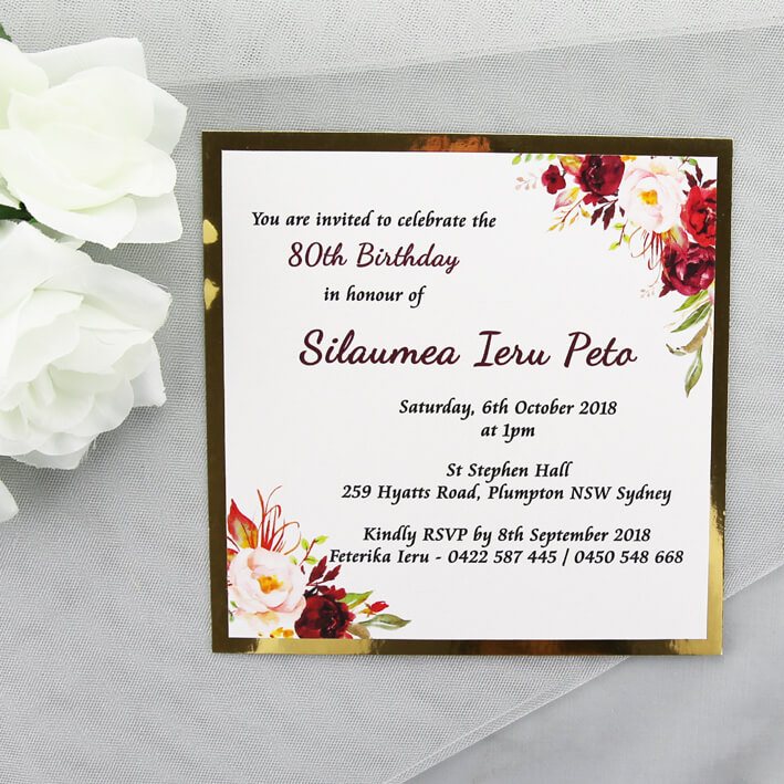 BIRINV46 Gold And Burgundy Floral 80th Birthday Invitation