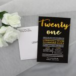 BIRINV52 Black and gold birthday invitation with envelope