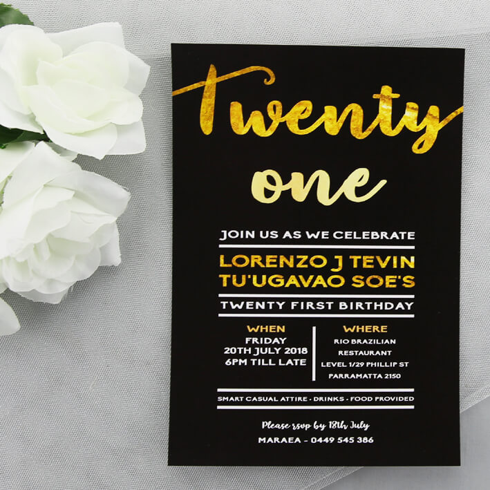 BIRINV52 Black And Gold Birthday Invitation