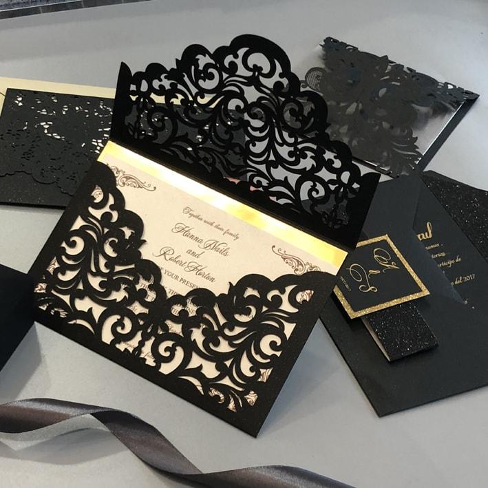 Wedding Invitations Red White And Black: Black And Gold Lasercut Invitation