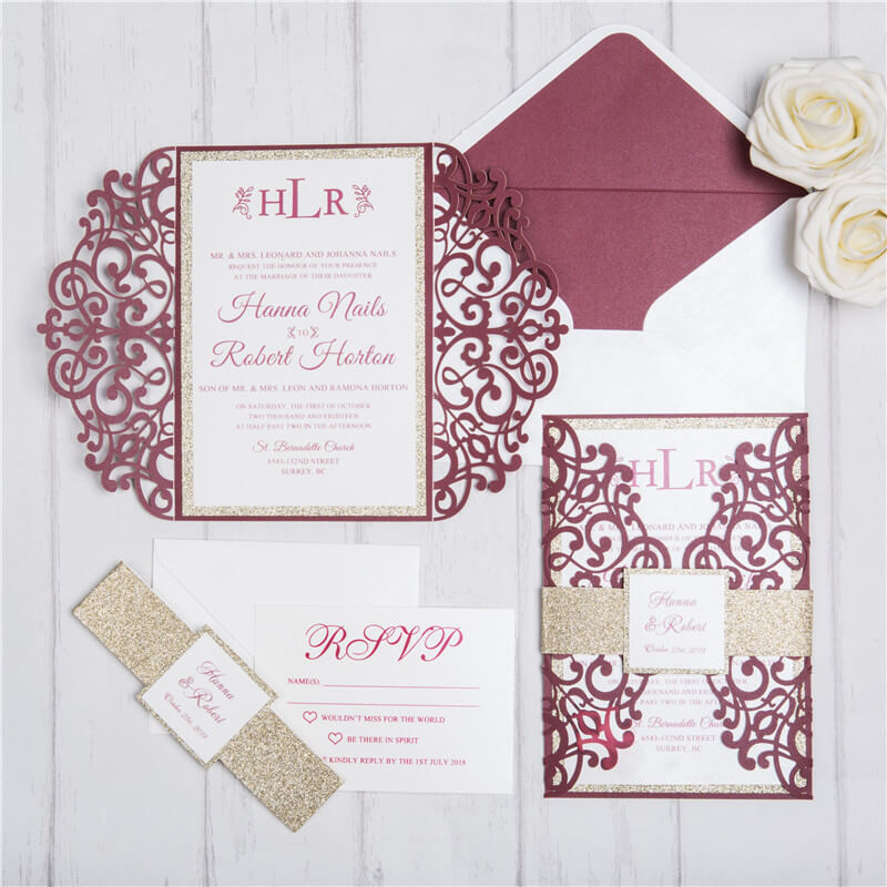 Gold Wedding Invitations.Burgundy And Gold Lasercut Wedding Invitations