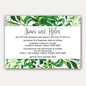 BIRINV48 Leafy green invitations