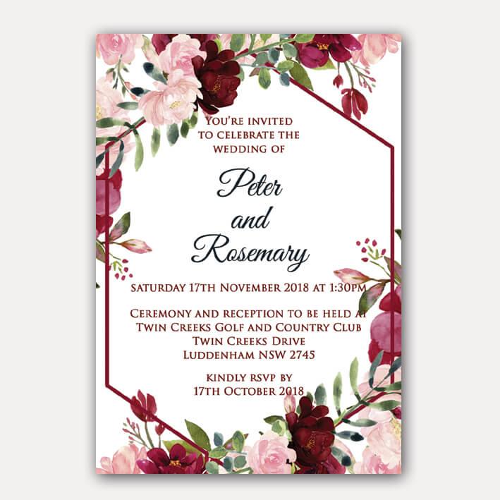 Red And Pink Wedding Invitations: Floral Geometric Birthday Invitation