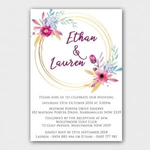 BIRINV52 blue and pink Floral simple invitations
