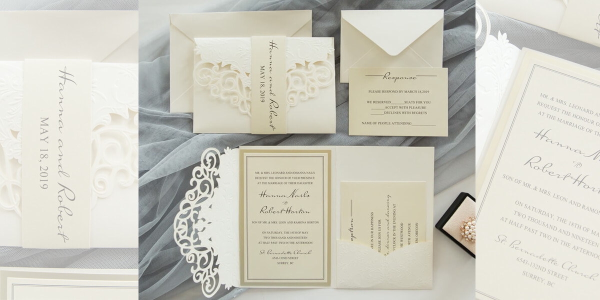 Ivory lasercut wedding invitation