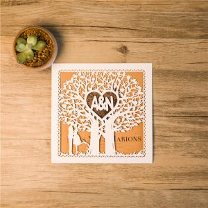 LASINV03 Personalised Love Tree Lasercut wedding invitation