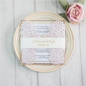 LASINV04 Soft floral lasercut invitation with embellishments