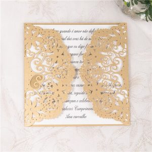 LASINV23 Lasercut floral gatefold wedding invitations gold