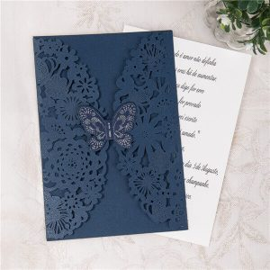 LASINV27 blue butterfly lasercut invitation no insert
