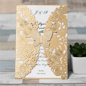 LASINV27 gold butterfly lasercut invitation