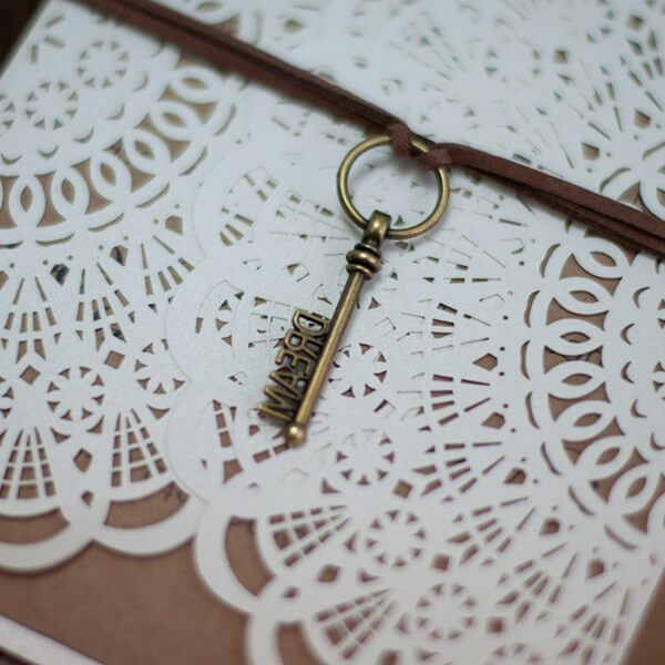 LASINV35 Rustic lasercut invitation close up