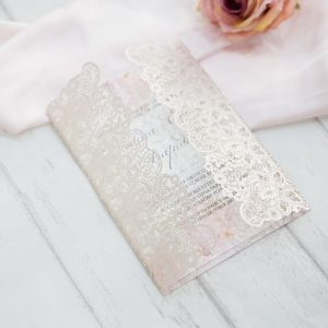 LASINV41 Pink lace lasercut wedding invitation
