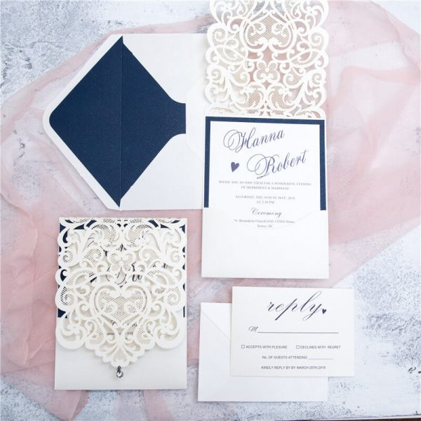 LASINV48 Pocketfold Lasercut wedding Invitation package