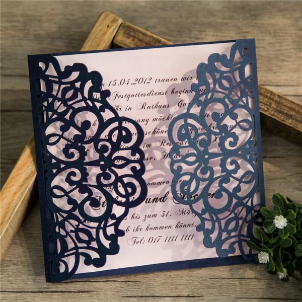 LASINV52 navy filigree lasercut DIY Invitation