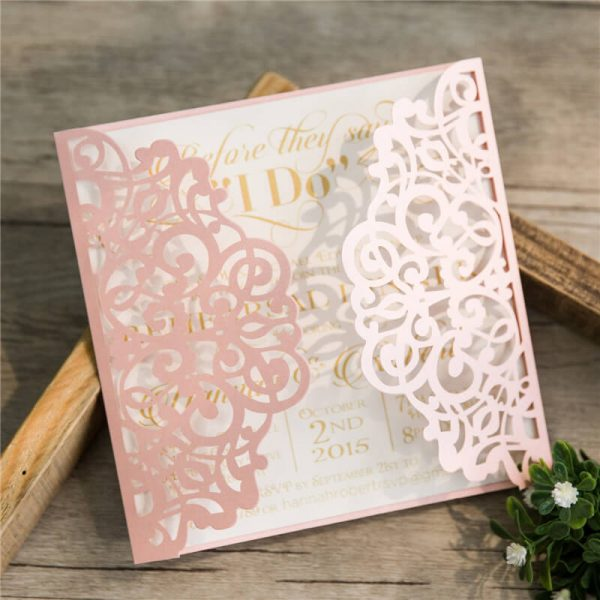 LASINV52 pink filigree lasercut DIY Invitation
