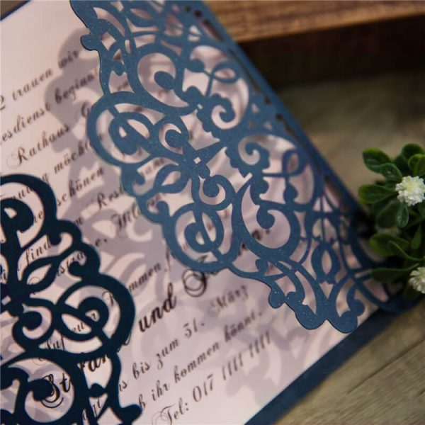 LASINV52 side on filigree lasercut DIY Invitation