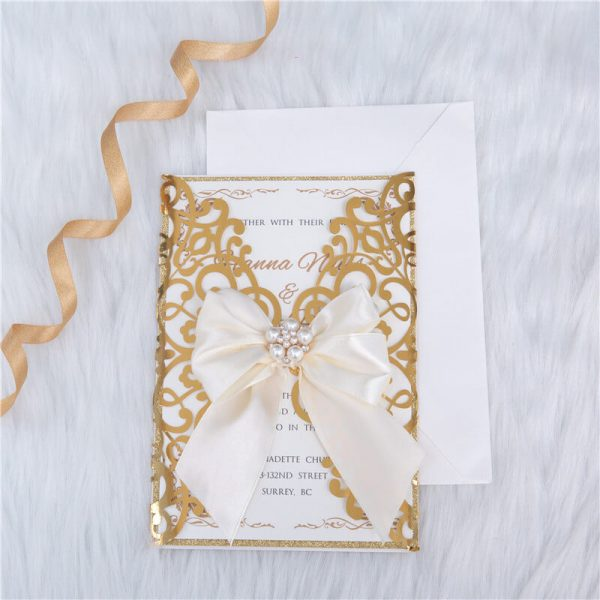 LASINV57 Foil lasercut wedding invitation