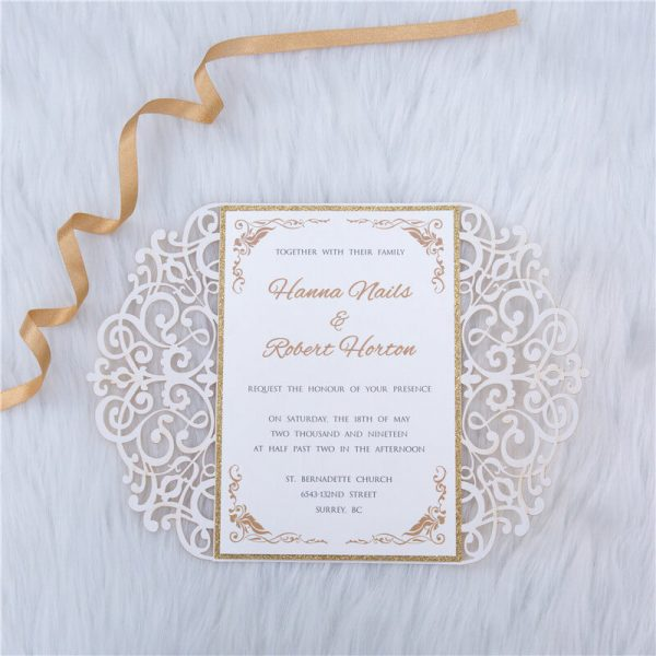 LASINV57 inside of Foil lasercut wedding invitation