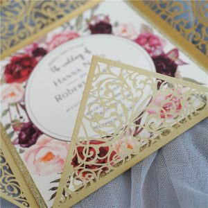 LASINV65 Close up Square Lasercut wedding Invitation