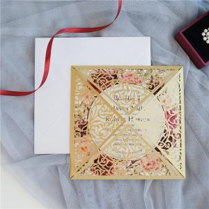 LASINV65 front of Square Lasercut wedding Invitation