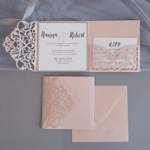 LASINV74 Exquisite Lace Wine pocketfold wedding invitation set
