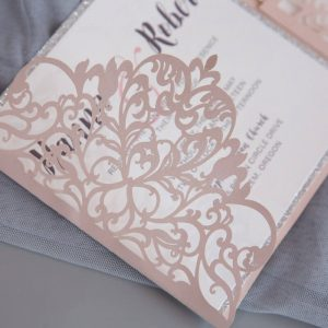 LASINV74 ide on of Exquisite Lace Wine pocketfold wedding invitation