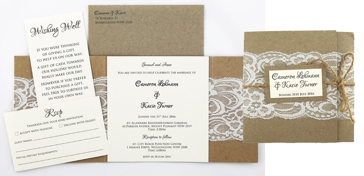 Rustic wedding invitation slider