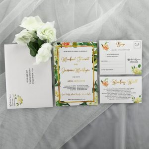 WEDINV162 white and peach flowers leafy wedding invitation set