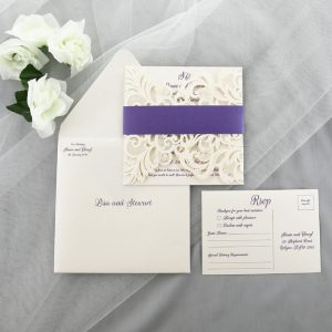 WEDINV172 Purple and Ivory Lasercut Wedding Invitation with belly band