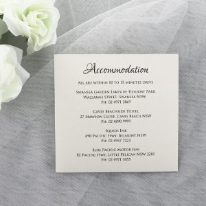 WEDINV174 Ivory wedding accomodation card