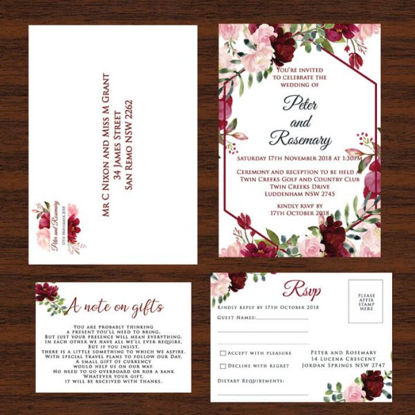Red And Pink Wedding Invitations