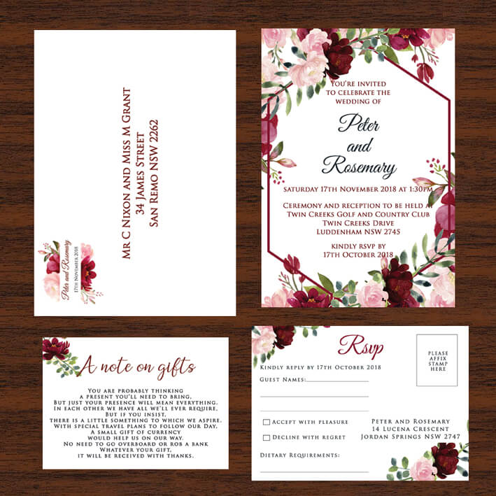 Red Floral Wedding Invitation Set Red Rose Invitations