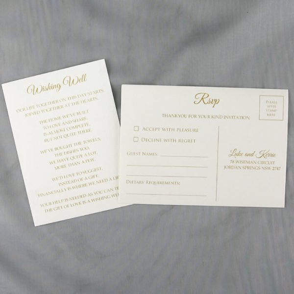 WEDINV187 gold printed Ivory rsvp postcard and wsihing well