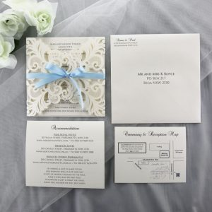 WEDINV188 ivory lasercut invitation with baby blue bow and printed in grey wedding set