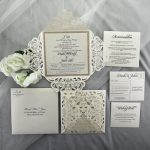 WEDINV191 Rose Gold Glitter Ivory Lasercut Wedding Invitations package