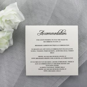 WEDINV191 ivory accomadation card printed in black