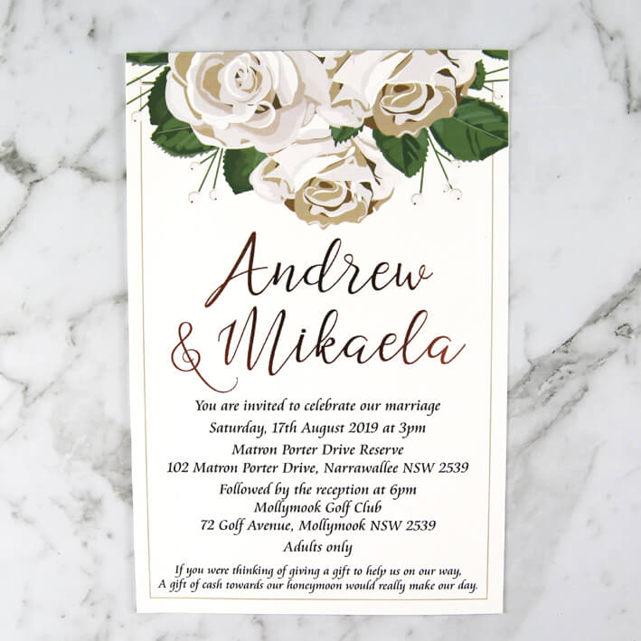 WEDINV192 White Floral Wedding Invitation With Rose Gold Foil