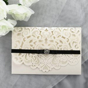 WEDINV193 Ivory and black lasercut invitation with diamante and pocket