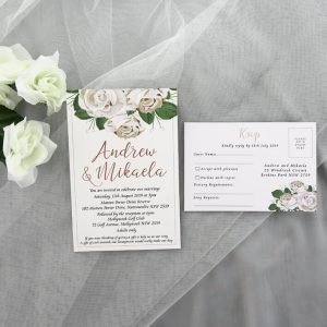 WEDINV195 Rose Gold Foiled White Floral Printed Wedding Invitations with rsvp card