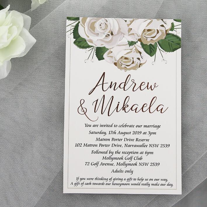 Wedding Images For Invitations: Rose Gold Foil Floral Wedding Invitation