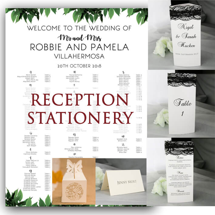 Reception wedding stationery