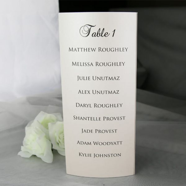 TABMEN20 Ivory printed trifold A4 table menu