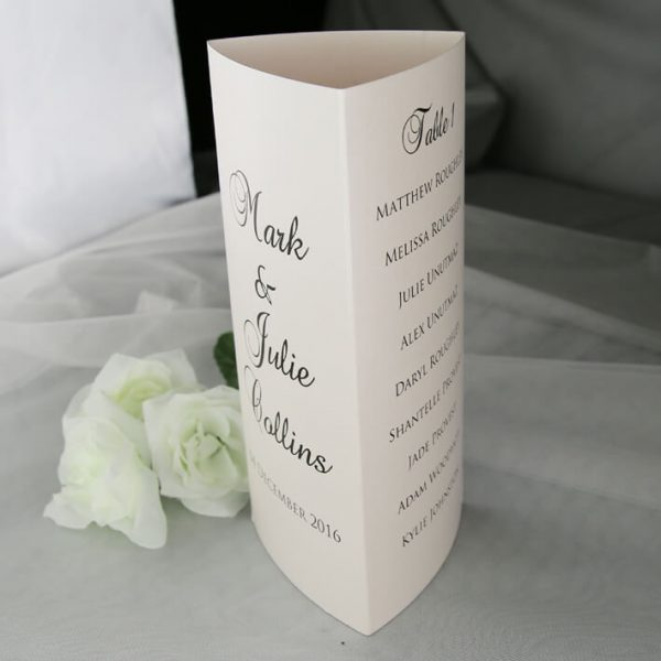 TABMEN20 Ivory printed trifold A4 table menu top