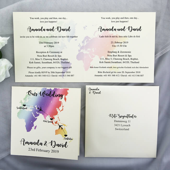 World Map Wedding Invitations.Rainbow World Map Wedding Invitations Red Rose Invitations
