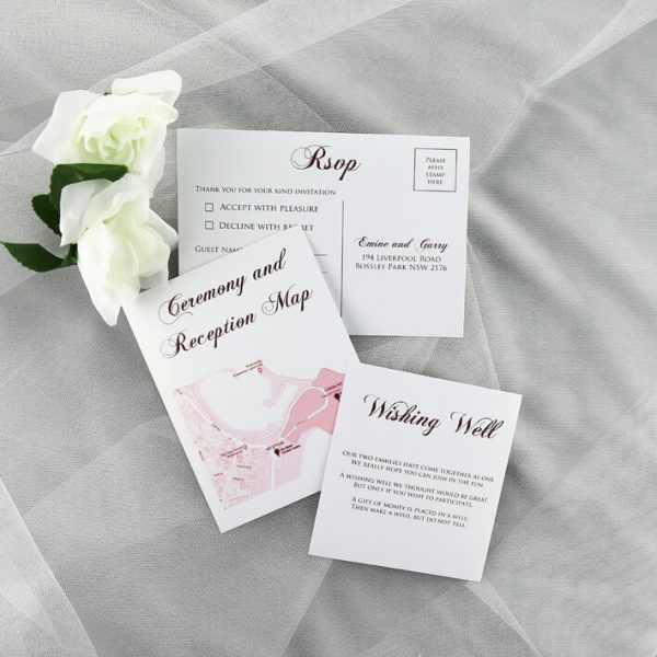 WEDINV198 White wedding rsvp map card and wishing well