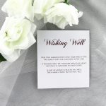 WEDINV198 burgundy and white wishing well card