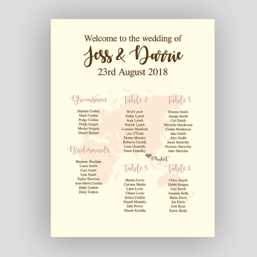 World Map Wedding Invitations.Destination Wedding Reception Seating Red Rose Invitations