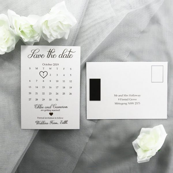 SAVDAT05 Gold foiled postcard with magnet save the date card