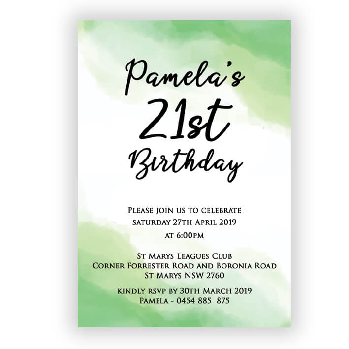 BIRINV52 Watermark Green Birthday Invitation
